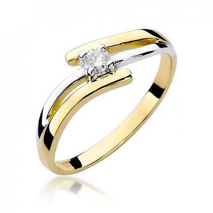 Biżuteria SAXO 14K Pierścionek z brylantem 0,10ct W-245 Złoty