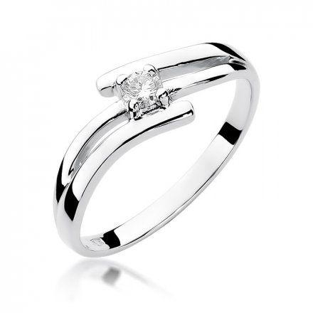 Biżuteria SAXO 14K Pierścionek z brylantem 0,10ct W-245 Białe Złoto