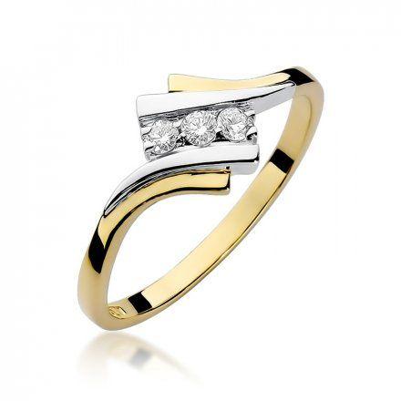 Biżuteria SAXO 14K Pierścionek z brylantami 0,09ct W-247 Złoty