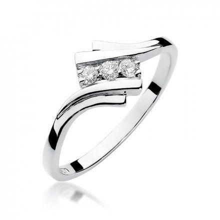 Biżuteria SAXO 14K Pierścionek z brylantami 0,09ct W-247 Białe Złoto