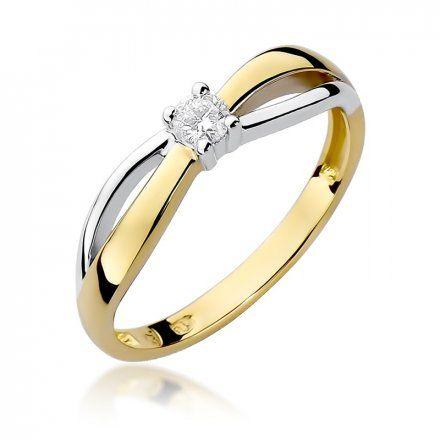 Biżuteria SAXO 14K Pierścionek z brylantem 0,10ct W-248 Złoty