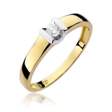 Biżuteria SAXO 14K Pierścionek z brylantem 0,10ct W-249 Złoty