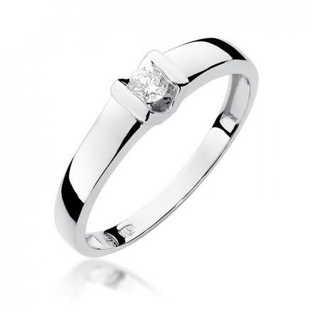 Biżuteria SAXO 14K Pierścionek z brylantem 0,10ct W-249 Białe Złoto