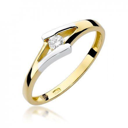 Biżuteria SAXO 14K Pierścionek z brylantem 0,10ct W-250 Złoty