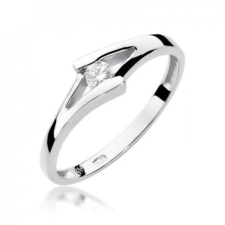 Biżuteria SAXO 14K Pierścionek z brylantem 0,10ct W-250 Białe Złoto