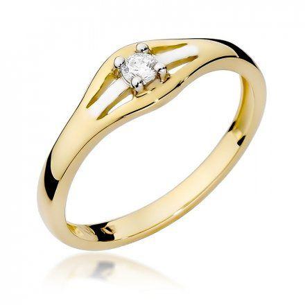 Biżuteria SAXO 14K Pierścionek z brylantem 0,10ct W-254 Złoty