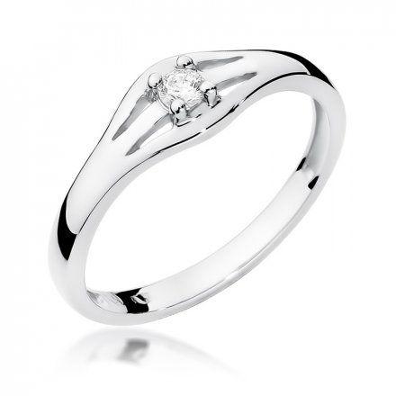 Biżuteria SAXO 14K Pierścionek z brylantem 0,10ct W-254 Białe Złoto