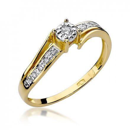 Biżuteria SAXO 14K Pierścionek z brylantami 0,10ct W-269 Złoty