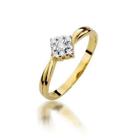 Biżuteria SAXO 14K Pierścionek z brylantami 0,09ct W-275 Złoty