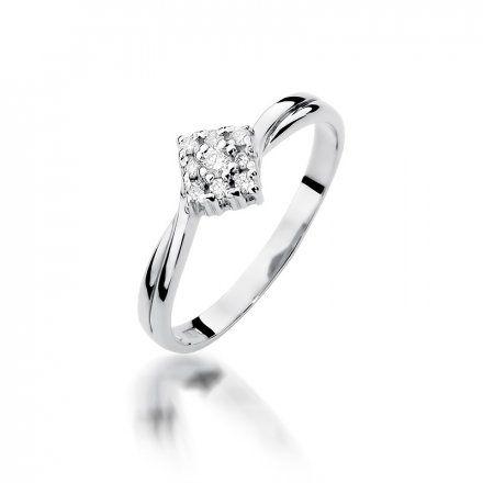 Biżuteria SAXO 14K Pierścionek z brylantami 0,09ct W-275 Białe Złoto