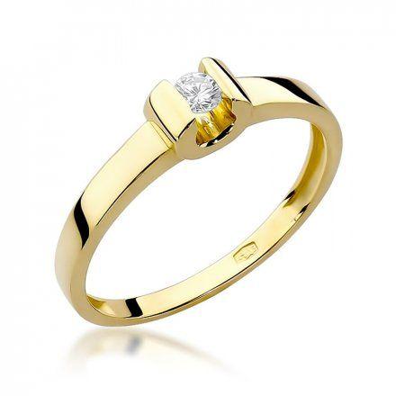 Biżuteria SAXO 14K Pierścionek z brylantem 0,08ct W-277 Złoty