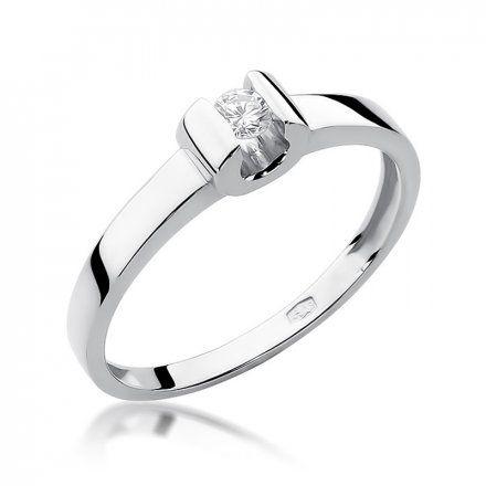 Biżuteria SAXO 14K Pierścionek z brylantem 0,08ct W-277 Białe Złoto