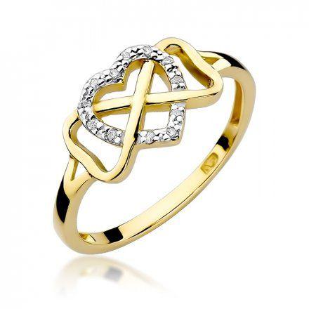 Biżuteria SAXO 14K Pierścionek z brylantami 0,06ct W-287 Złoty