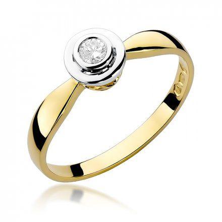 Biżuteria SAXO 14K Pierścionek z brylantem 0,10ct W-294 Złoty
