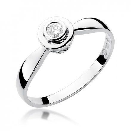 Biżuteria SAXO 14K Pierścionek z brylantem 0,10ct W-294 Białe Złoto