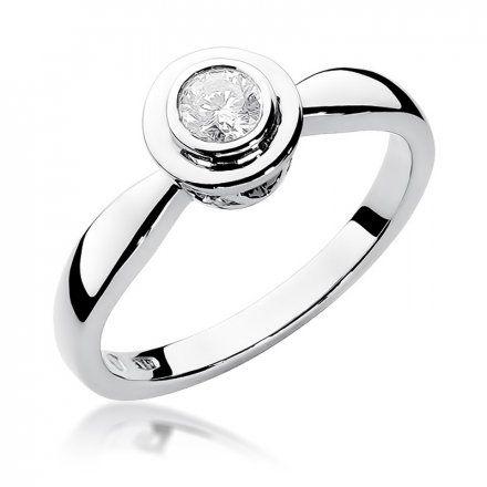 Biżuteria SAXO 14K Pierścionek z brylantem 0,30ct W-294 Białe Złoto