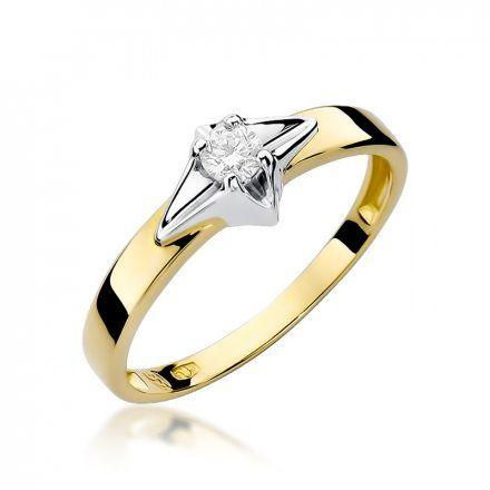 Biżuteria SAXO 14K Pierścionek z brylantem 0,10ct W-30 Złoty