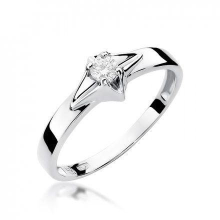 Biżuteria SAXO 14K Pierścionek z brylantem 0,10ct W-30 Białe Złoto