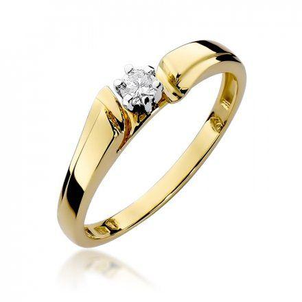 Biżuteria SAXO 14K Pierścionek z brylantem 0,10ct W-300 Złoty