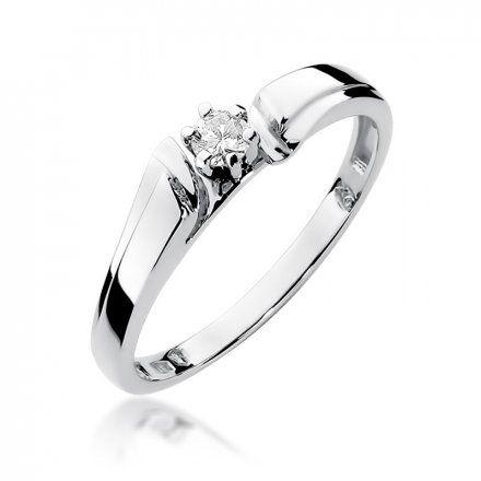 Biżuteria SAXO 14K Pierścionek z brylantem 0,10ct W-300 Białe Złoto