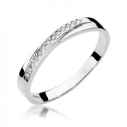 Biżuteria SAXO 14K Pierścionek z brylantami 0,07ct W-305 Białe Złoto