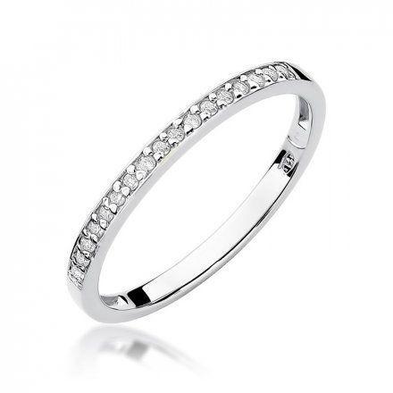 Biżuteria SAXO 14K Pierścionek z brylantami 0,09ct W-306 Białe Złoto