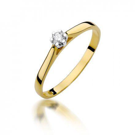 Biżuteria SAXO 14K Pierścionek z brylantem 0,09ct W-311 Złoty