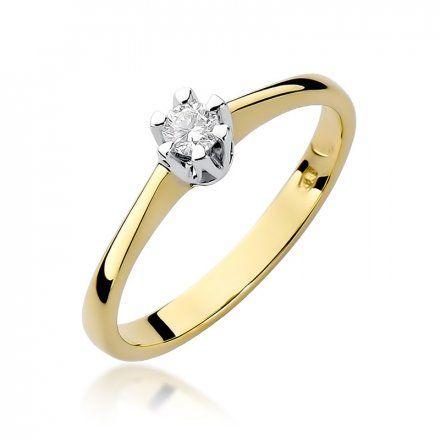 Biżuteria SAXO 14K Pierścionek z brylantem 0,10ct W-319 Złoty