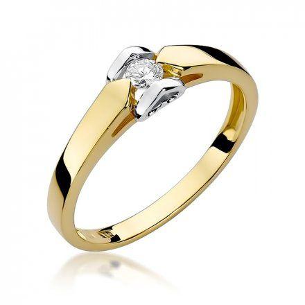 Biżuteria SAXO 14K Pierścionek z brylantem 0,09ct W-320 Złoty