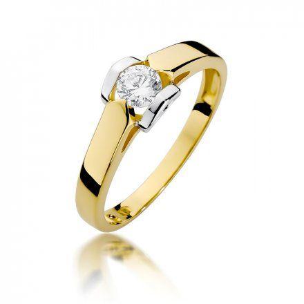 Biżuteria SAXO 14K Pierścionek z brylantem 0,30ct W-320 Złoty
