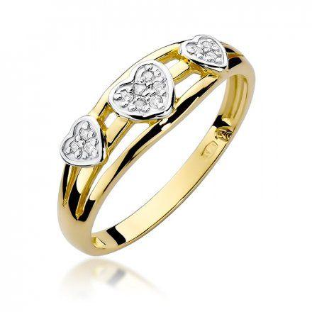 Biżuteria SAXO 14K Pierścionek z brylantami 0,06ct W-325 Złoty