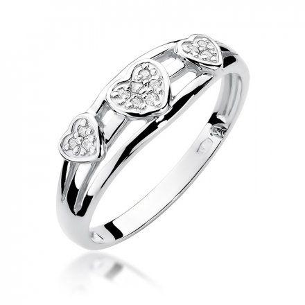 Biżuteria SAXO 14K Pierścionek z brylantami 0,06ct W-325 Białe Złoto