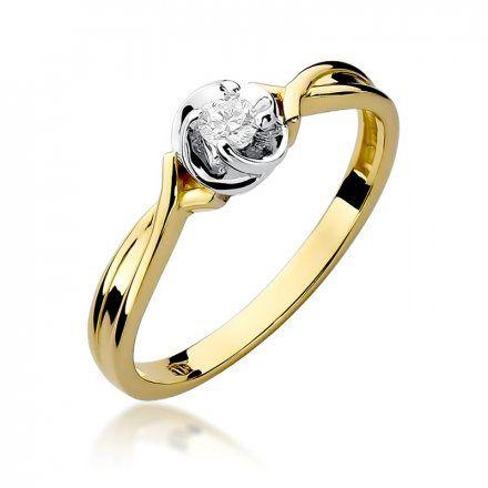 Biżuteria SAXO 14K Pierścionek z brylantem 0,10ct W-329 Złoty