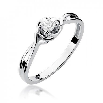 Biżuteria SAXO 14K Pierścionek z brylantem 0,10ct W-329 Białe Złoto