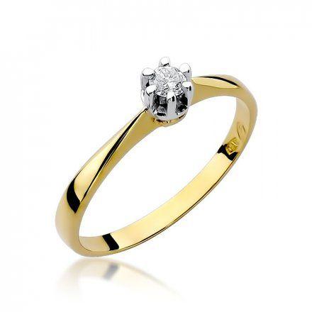 Biżuteria SAXO 14K Pierścionek z brylantem 0,10ct W-36 Złoty