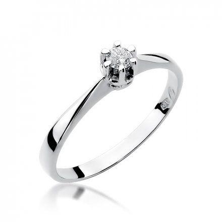 Biżuteria SAXO 14K Pierścionek z brylantem 0,10ct W-36 Białe Złoto