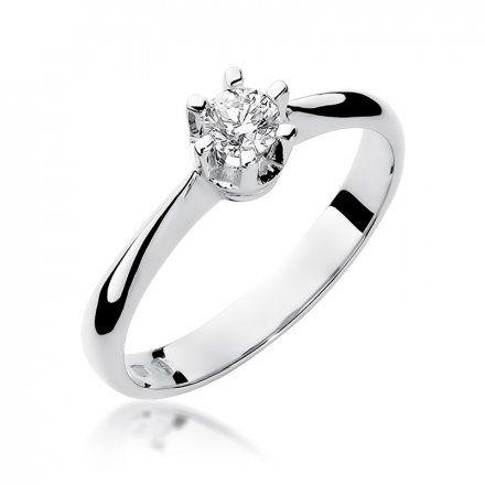 Biżuteria SAXO 14K Pierścionek z brylantem 0,23ct W-36 Białe Złoto