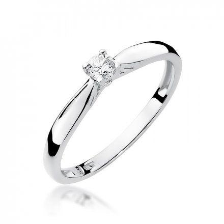 Biżuteria SAXO 14K Pierścionek z brylantem 0,10ct W-45 Białe Złoto