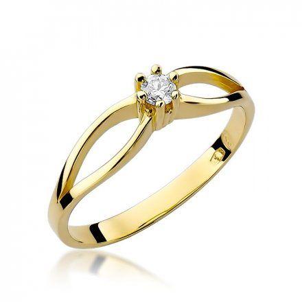 Biżuteria SAXO 14K Pierścionek z brylantem 0,10ct W-49 Złoty