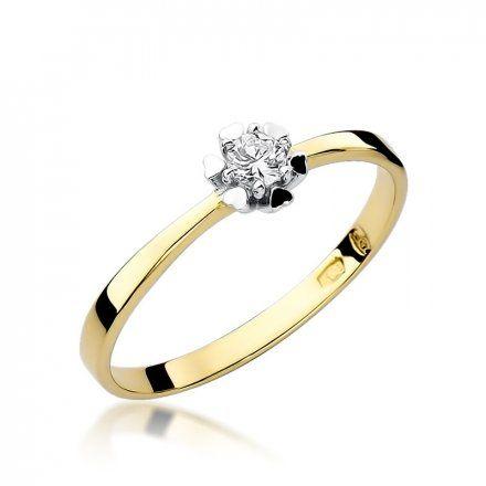 Biżuteria SAXO 14K Pierścionek z brylantem 0,10ct W-53 Złoty