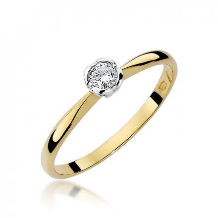 Biżuteria SAXO 14K Pierścionek z brylantem 0,10ct W-54 Złoty