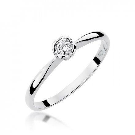Biżuteria SAXO 14K Pierścionek z brylantem 0,10ct W-54 Białe Złoto