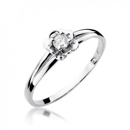 Biżuteria SAXO 14K Pierścionek z brylantem 0,10ct W-57 Białe Złoto