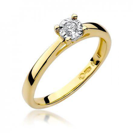 Biżuteria SAXO 14K Pierścionek z brylantem 0,08ct W-7 Złoty