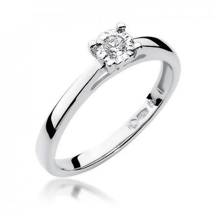Biżuteria SAXO 14K Pierścionek z brylantem 0,08ct W-7 Białe Złoto