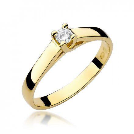 Biżuteria SAXO 14K Pierścionek z brylantem 0,10ct W-70 Złoty