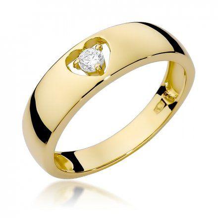 Biżuteria SAXO 14K Pierścionek z brylantem 0,10ct W-71 Złoty
