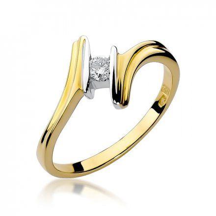 Biżuteria SAXO 14K Pierścionek z brylantem 0,08ct W-8 Złoty