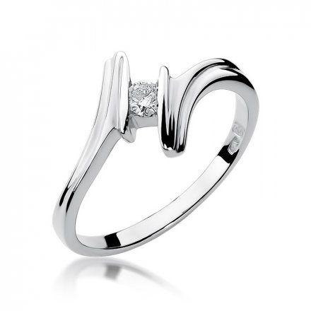 Biżuteria SAXO 14K Pierścionek z brylantem 0,08ct W-8 Białe Złoto
