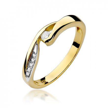 Biżuteria SAXO 14K Pierścionek z brylantami 0,08ct W-82 Złoty